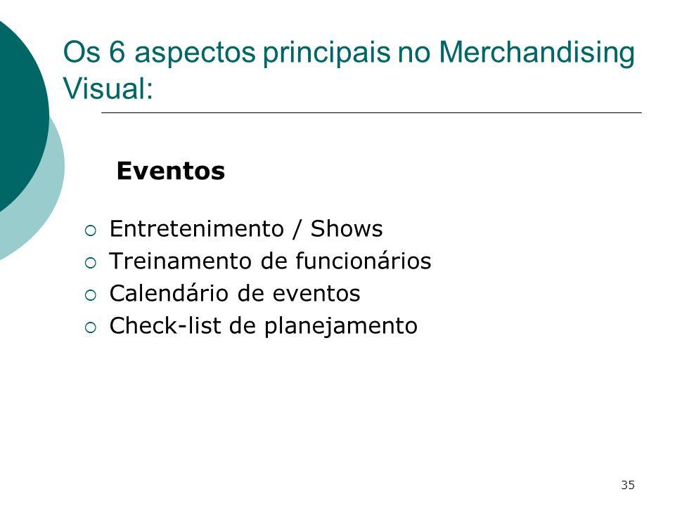 35 Eventos Entretenimento / Shows Treinamento de funcionários Calendário de eventos Check-list de planejamento Os 6 aspectos principais no Merchandisi