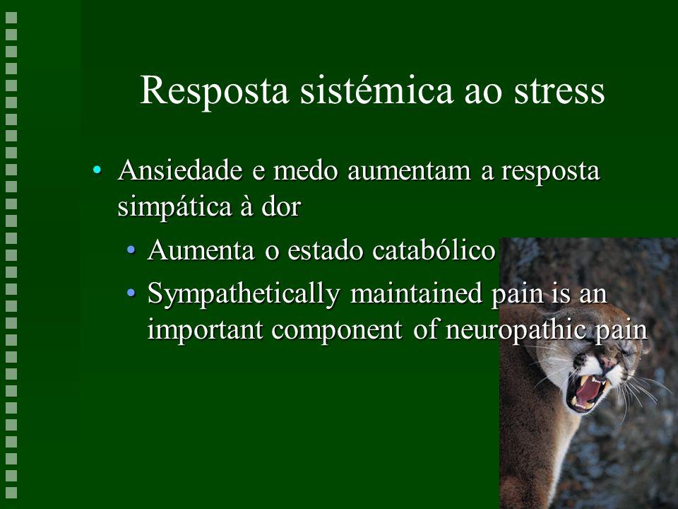 Resposta sistémica ao stress Ansiedade e medo aumentam a resposta simpática à dorAnsiedade e medo aumentam a resposta simpática à dor Aumenta o estado