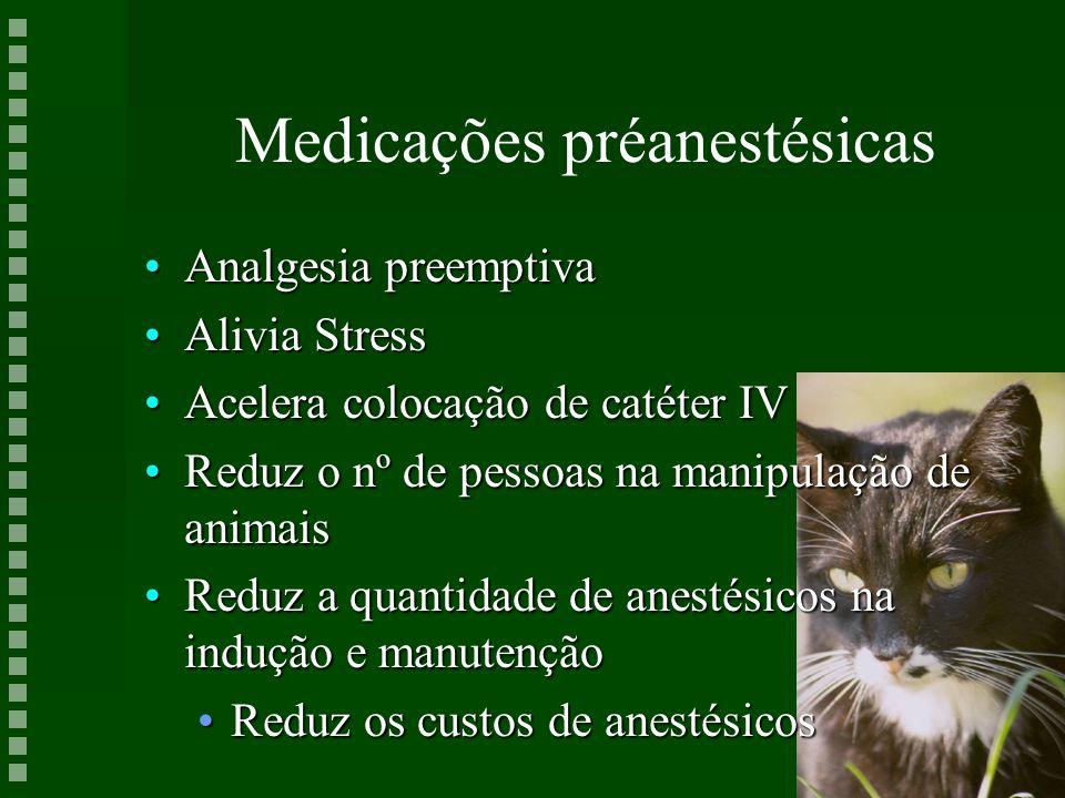 Medicações préanestésicas Analgesia preemptivaAnalgesia preemptiva Alivia StressAlivia Stress Acelera colocação de catéter IVAcelera colocação de caté