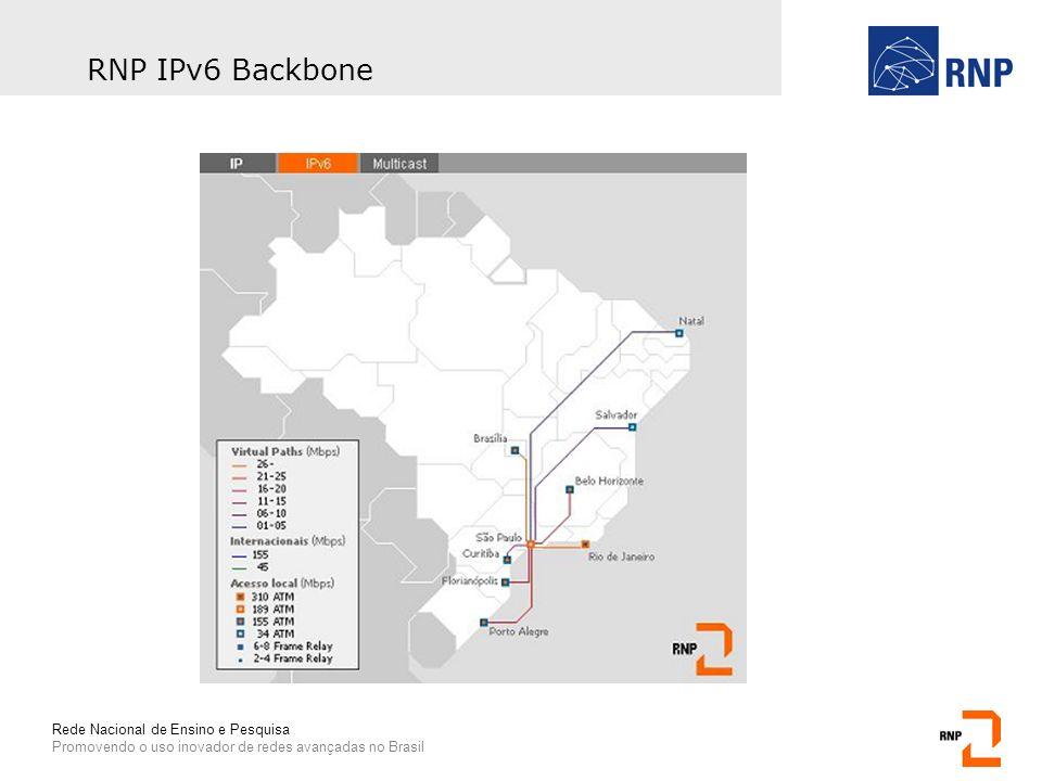 Rede Nacional de Ensino e Pesquisa Promovendo o uso inovador de redes avançadas no Brasil RNP IPv6 Backbone