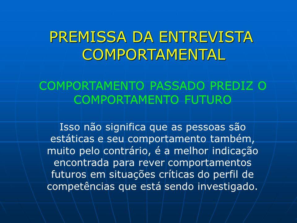 PREMISSA DA ENTREVISTA COMPORTAMENTAL COMPORTAMENTO PASSADO PREDIZ O COMPORTAMENTO FUTURO Isso não significa que as pessoas são estáticas e seu compor