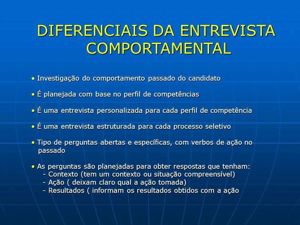 DIFERENCIAIS DA ENTREVISTA COMPORTAMENTAL COMPORTAMENTAL Investigação do comportamento passado do candidato É planejada com base no perfil de competên