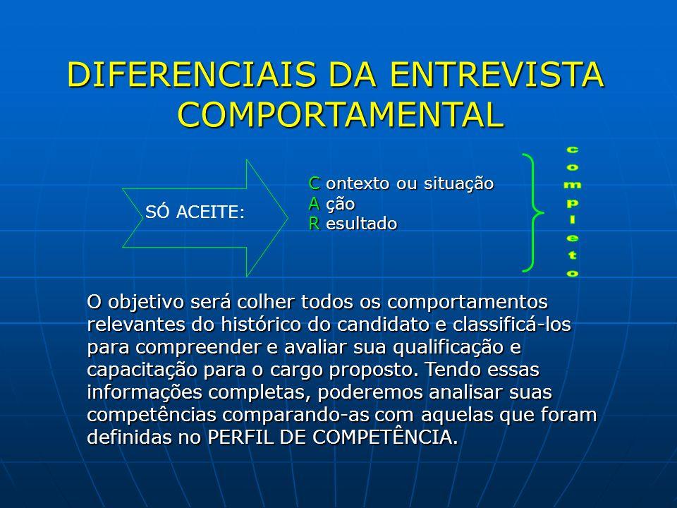 DIFERENCIAIS DA ENTREVISTA COMPORTAMENTAL SÓ ACEITE: C ontexto ou situação A ção R esultado O objetivo será colher todos os comportamentos relevantes