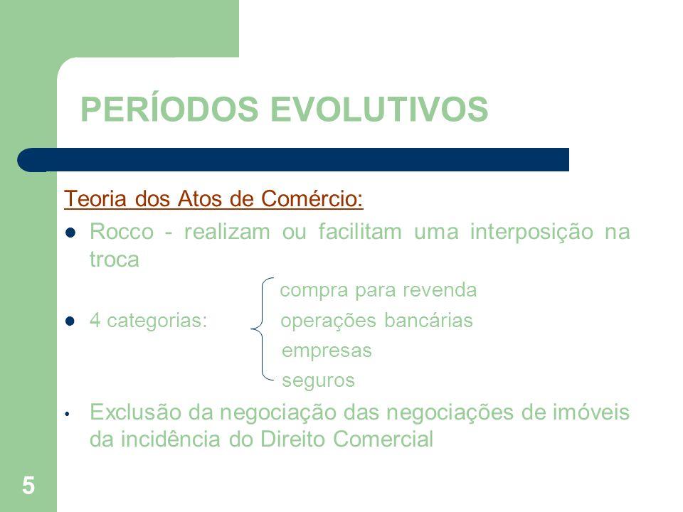 5 PERÍODOS EVOLUTIVOS Teoria dos Atos de Comércio: Rocco - realizam ou facilitam uma interposição na troca compra para revenda 4 categorias: operações