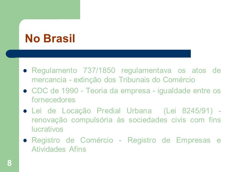 8 No Brasil Regulamento 737/1850 regulamentava os atos de mercancia - extinção dos Tribunais do Comércio CDC de 1990 - Teoria da empresa - igualdade e