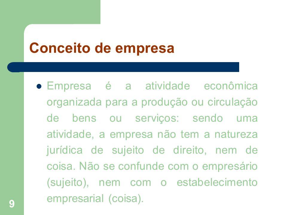 9 Conceito de empresa Empresa é a atividade econômica organizada para a produção ou circulação de bens ou serviços: sendo uma atividade, a empresa não