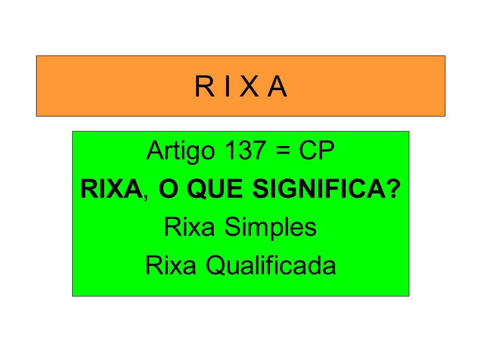 R I X A Artigo 137 = CP RIXA, O QUE SIGNIFICA? Rixa Simples Rixa Qualificada