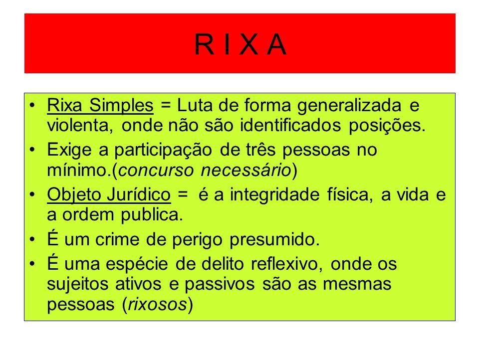 R I X A Rixa Simples = Luta de forma generalizada e violenta, onde não são identificados posições. Exige a participação de três pessoas no mínimo.(con