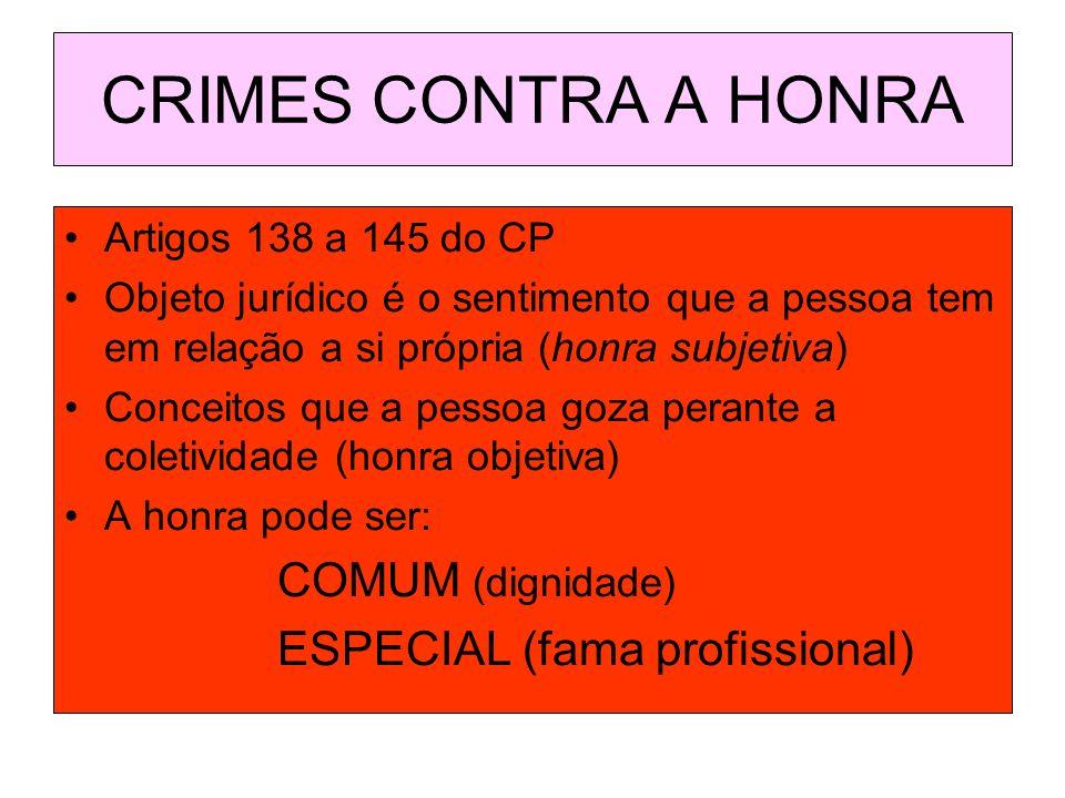 CRIMES CONTRA A HONRA Artigos 138 a 145 do CP Objeto jurídico é o sentimento que a pessoa tem em relação a si própria (honra subjetiva) Conceitos que