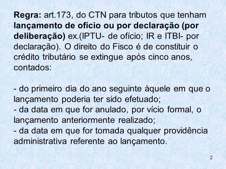 Regra: art.173, do CTN para tributos que tenham lançamento de ofício ou por declaração (por deliberação) ex.(IPTU- de ofício; IR e ITBI- por declaraçã