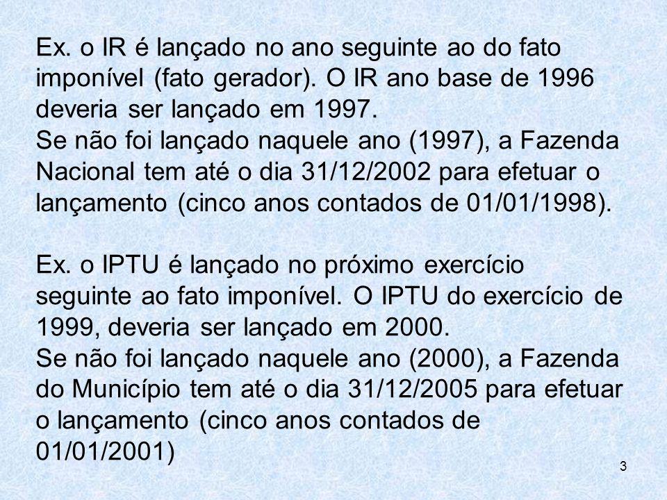 Ex. o IR é lançado no ano seguinte ao do fato imponível (fato gerador). O IR ano base de 1996 deveria ser lançado em 1997. Se não foi lançado naquele