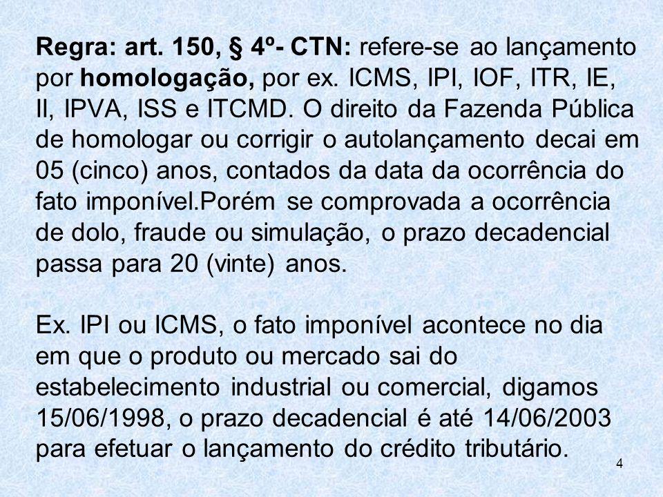 Regra: art. 150, § 4º- CTN: refere-se ao lançamento por homologação, por ex. ICMS, IPI, IOF, ITR, IE, II, IPVA, ISS e ITCMD. O direito da Fazenda Públ