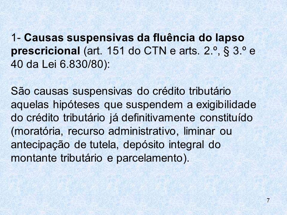 1- Causas suspensivas da fluência do lapso prescricional (art. 151 do CTN e arts. 2.º, § 3.º e 40 da Lei 6.830/80): São causas suspensivas do crédito