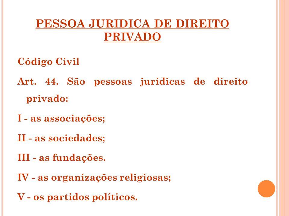 PESSOA JURIDICA DE DIREITO PRIVADO Código Civil Art. 44. São pessoas jurídicas de direito privado: I - as associações; II - as sociedades; III - as fu