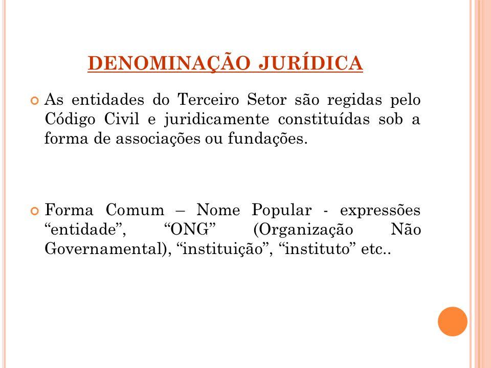 DENOMINAÇÃO JURÍDICA As entidades do Terceiro Setor são regidas pelo Código Civil e juridicamente constituídas sob a forma de associações ou fundações