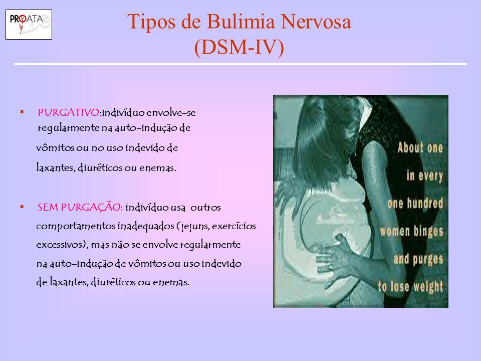 Tipos de Bulimia Nervosa (DSM-IV) PURGATIVO:indivíduo envolve-se regularmente na auto-indução de vômitos ou no uso indevido de laxantes, diuréticos ou enemas.