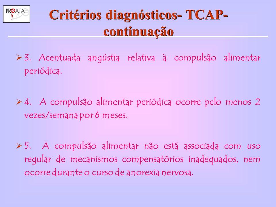 Características do TCAP Mulheres/Homens: 3/2.