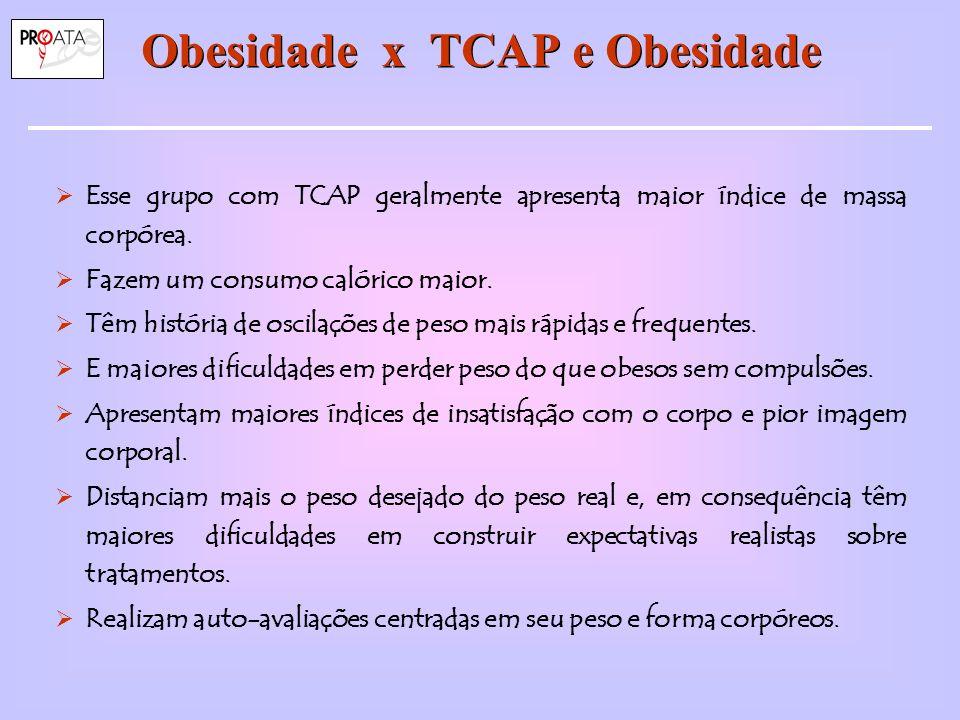 Obesidade x TCAP e Obesidade Esse grupo com TCAP geralmente apresenta maior índice de massa corpórea.
