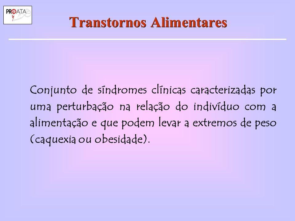 Epidemiologia: Prevalência Prevalência entre mulheres jovens Anorexia Nervosa: 0,3 % (0,2 a 0,9%) Bulimia Nervosa : ~ 1,0 % (1 a 5%) Sínd.