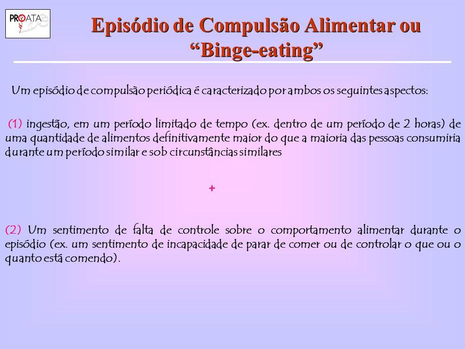 Episódio de Compulsão Alimentar ou Binge-eating Um episódio de compulsào periódica é caracterizado por ambos os seguintes aspectos: (1) ingestão, em um período limitado de tempo (ex.