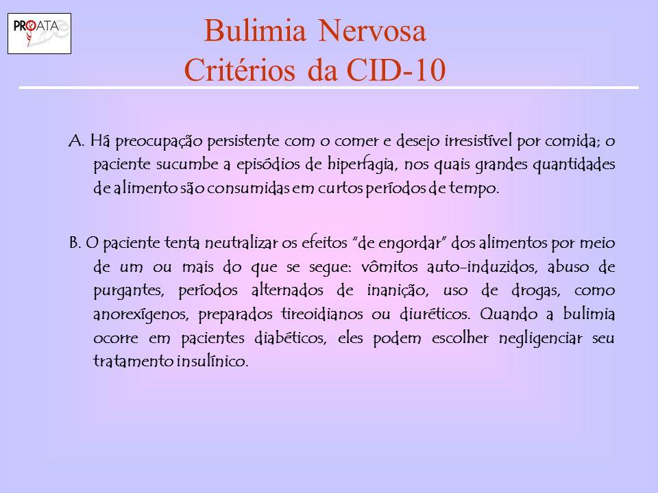 Bulimia Nervosa Critérios da CID-10 A.