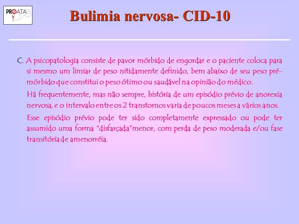 Bulimia nervosa- CID-10 C.