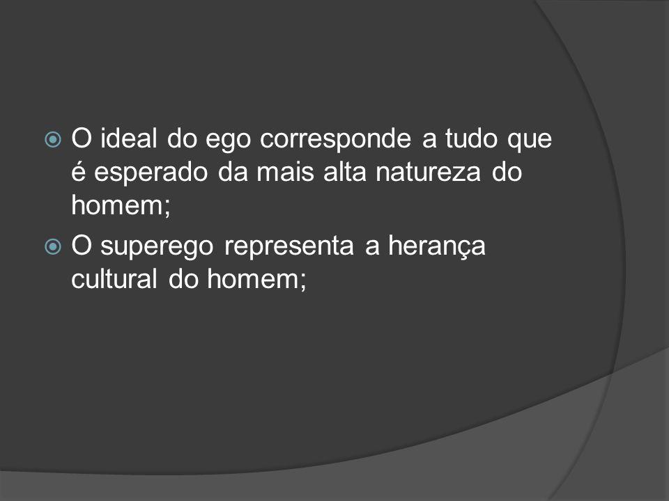 O ideal do ego corresponde a tudo que é esperado da mais alta natureza do homem; O superego representa a herança cultural do homem;