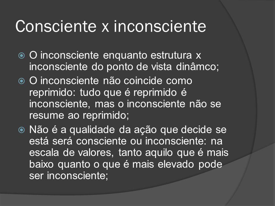 Consciente x inconsciente O inconsciente enquanto estrutura x inconsciente do ponto de vista dinâmco; O inconsciente não coincide como reprimido: tudo