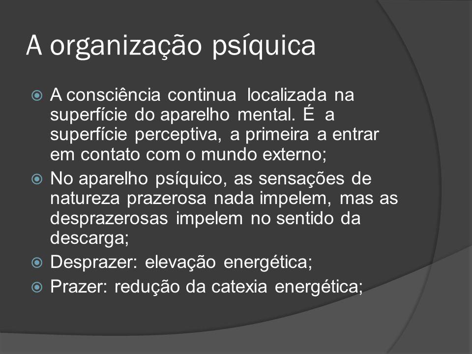 O ego O ego representa uma organização coerente de processos mentais; Ele tem início no sistema perceptual, que irá se configurar como seu núcleo, abrangendo também o pré-consciente; Do ponto de vista tópico, o ego possui partes conscientes e partes inconscientes; Controla a descarga de excitações para o mundo externo;