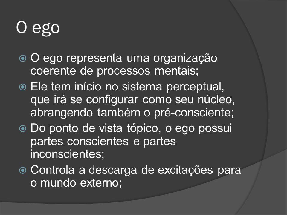O ego pode ser considerada aquela parte do id que foi modificada pela influência direta do mundo externo; O ego procura aplicar a influência do mundo externo ao id - esforço para substituir o princípio do prazer pelo princípio de realidade; O ego é antes de tudo um ego corporal: ele deriva das sensações corporais;