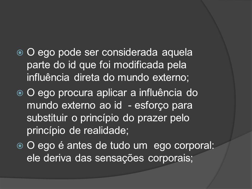 O ego pode ser considerada aquela parte do id que foi modificada pela influência direta do mundo externo; O ego procura aplicar a influência do mundo