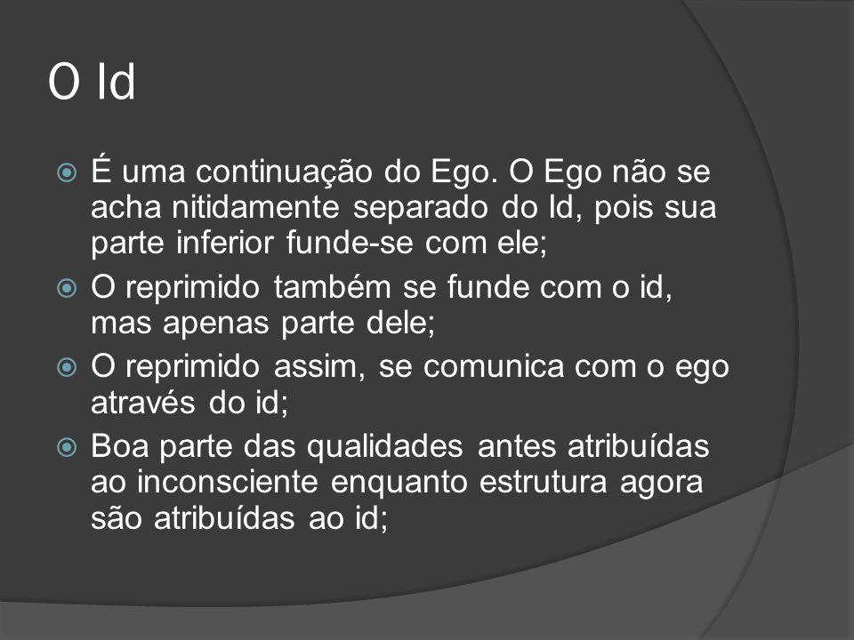 O Id É uma continuação do Ego. O Ego não se acha nitidamente separado do Id, pois sua parte inferior funde-se com ele; O reprimido também se funde com