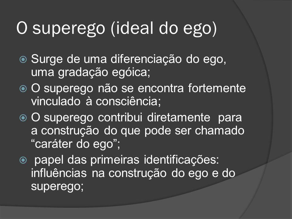 O superego (ideal do ego) Surge de uma diferenciação do ego, uma gradação egóica; O superego não se encontra fortemente vinculado à consciência; O sup