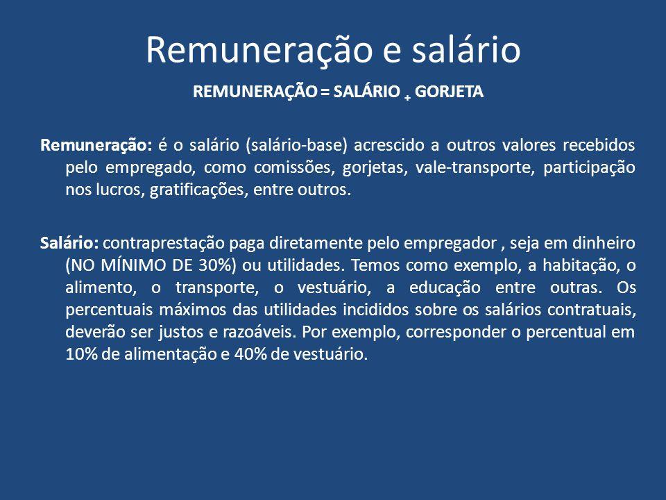 Remuneração e salário REMUNERAÇÃO = SALÁRIO + GORJETA Remuneração: é o salário (salário-base) acrescido a outros valores recebidos pelo empregado, com