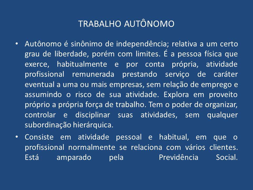 TRABALHO AUTÔNOMO Autônomo é sinônimo de independência; relativa a um certo grau de liberdade, porém com limites. É a pessoa física que exerce, habitu