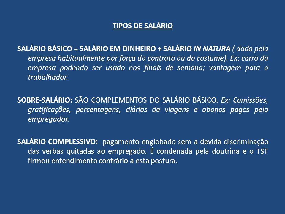 TIPOS DE SALÁRIO SALÁRIO BÁSICO = SALÁRIO EM DINHEIRO + SALÁRIO IN NATURA ( dado pela empresa habitualmente por força do contrato ou do costume). Ex: