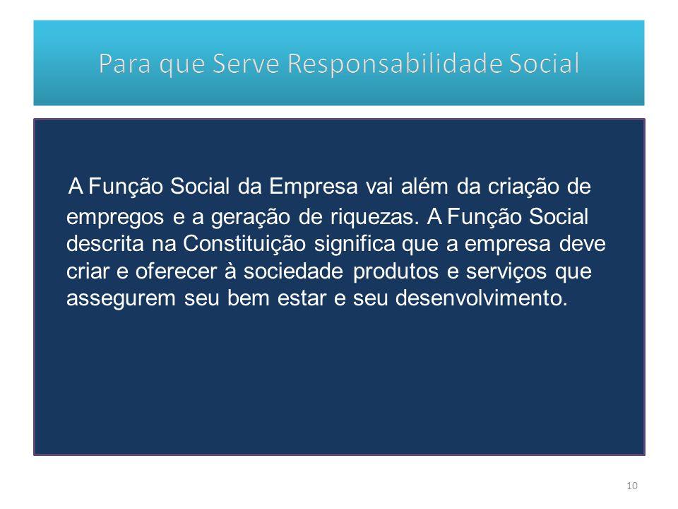 A Função Social da Empresa vai além da criação de empregos e a geração de riquezas. A Função Social descrita na Constituição significa que a empresa d