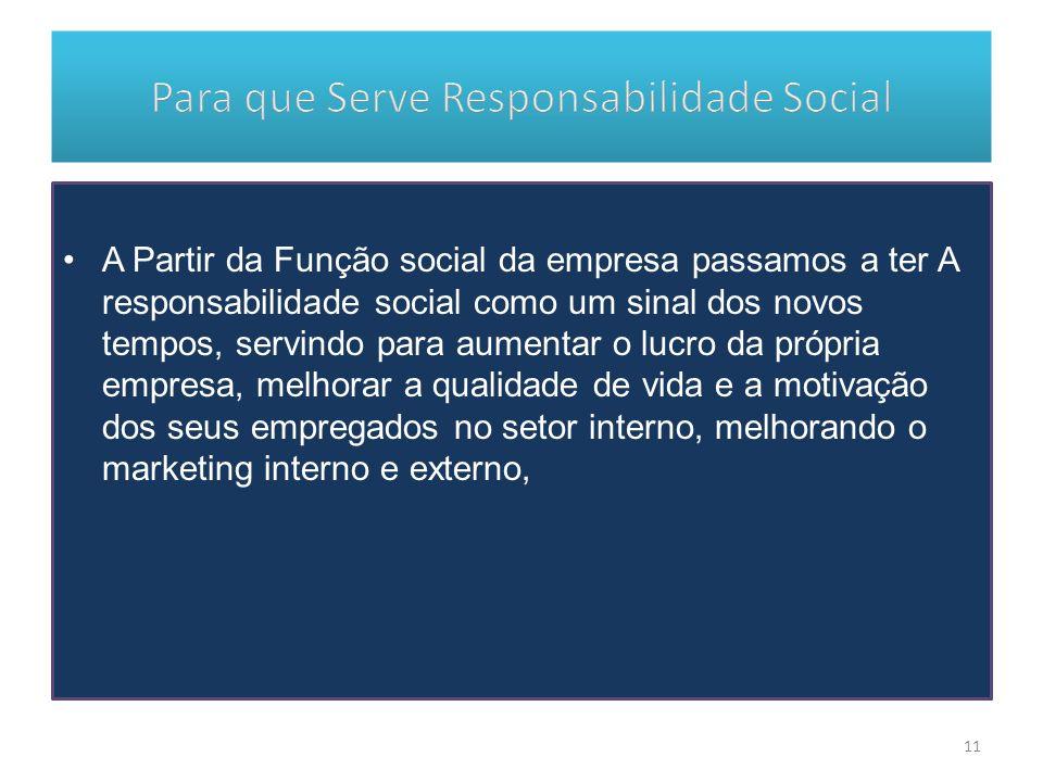 A Partir da Função social da empresa passamos a ter A responsabilidade social como um sinal dos novos tempos, servindo para aumentar o lucro da própri