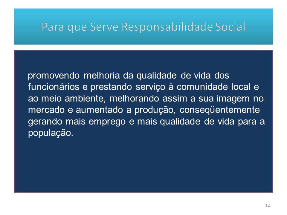 promovendo melhoria da qualidade de vida dos funcionários e prestando serviço à comunidade local e ao meio ambiente, melhorando assim a sua imagem no