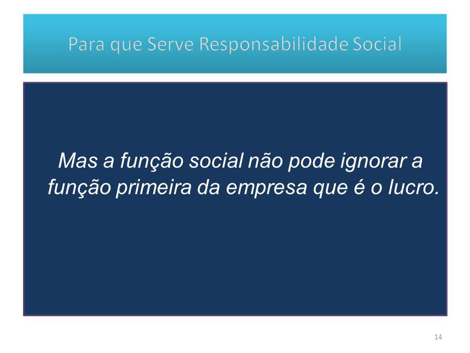 Mas a função social não pode ignorar a função primeira da empresa que é o lucro. 14