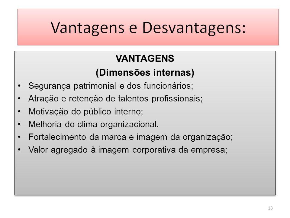 VANTAGENS (Dimensões internas) Segurança patrimonial e dos funcionários; Atração e retenção de talentos profissionais; Motivação do público interno; M