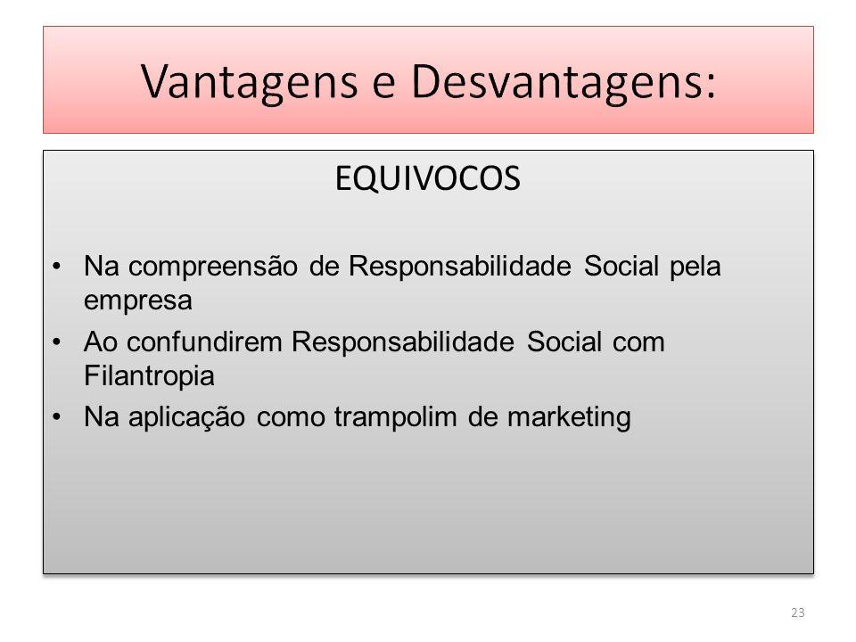 EQUIVOCOS Na compreensão de Responsabilidade Social pela empresa Ao confundirem Responsabilidade Social com Filantropia Na aplicação como trampolim de