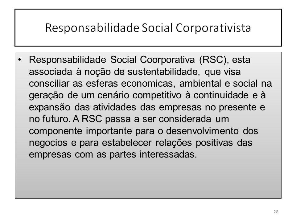 Responsabilidade Social Coorporativa (RSC), esta associada à noção de sustentabilidade, que visa consciliar as esferas economicas, ambiental e social