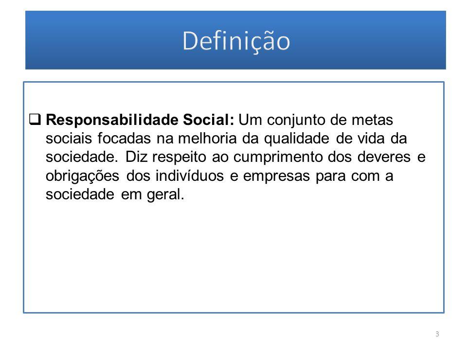 Responsabilidade Social: Um conjunto de metas sociais focadas na melhoria da qualidade de vida da sociedade. Diz respeito ao cumprimento dos deveres e