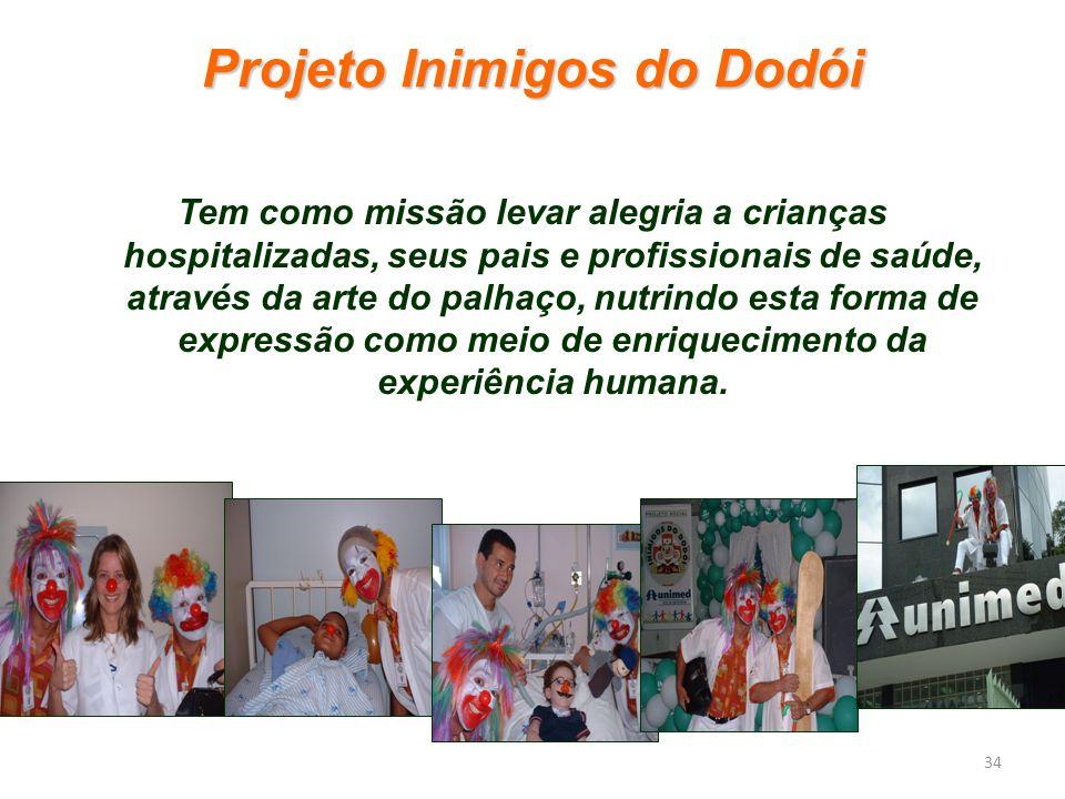 Projeto Inimigos do Dodói Tem como missão levar alegria a crianças hospitalizadas, seus pais e profissionais de saúde, através da arte do palhaço, nut