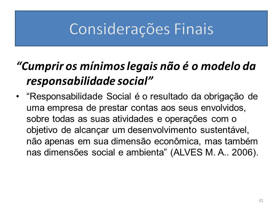 Cumprir os mínimos legais não é o modelo da responsabilidade social Responsabilidade Social é o resultado da obrigação de uma empresa de prestar conta
