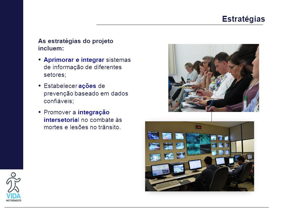 Estratégias As estratégias do projeto incluem: Aprimorar e integrar sistemas de informação de diferentes setores; Estabelecer ações de prevenção basea