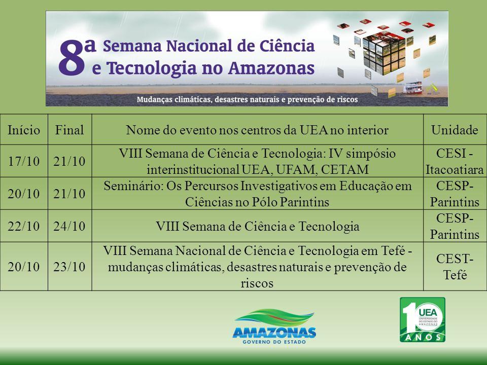 InícioFinalNome do evento nos centros da UEA no interiorUnidade 17/1021/10 VIII Semana de Ciência e Tecnologia: IV simpósio interinstitucional UEA, UF