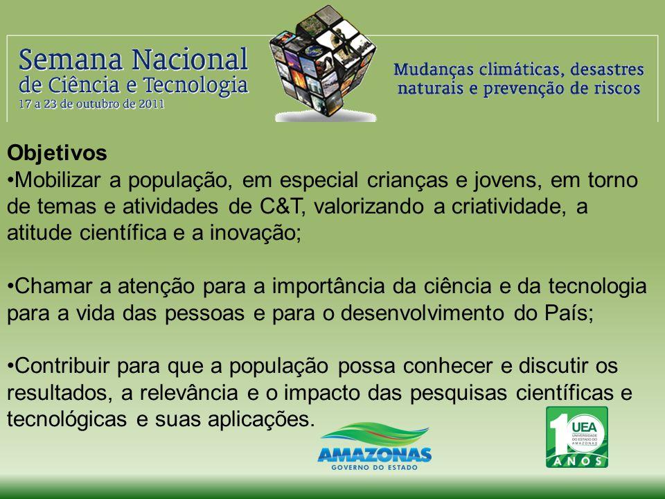 2010 Tema: Ciência para o Desenvolvimento Sustentável, com a valorização da arvore amazônica Sumaúma, valorizando a biodiversidade e uso sustentável No Brasil: 14.000 atividades, em mais de 500 municípios.