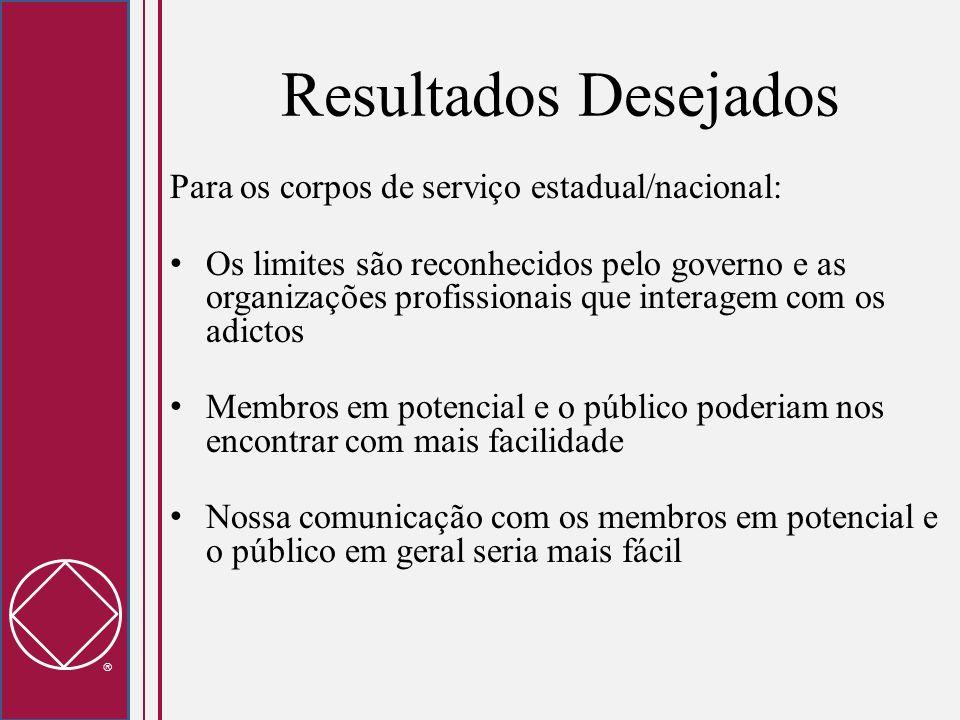 Resultados Desejados Para os corpos de serviço estadual/nacional: Os limites são reconhecidos pelo governo e as organizações profissionais que interag